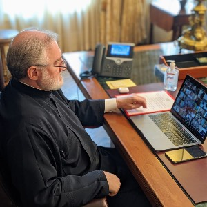 "Archbishop Elpidophoros participated in the United Nations Virtual Consultation: ""Global Pledge for Action"""