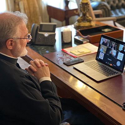 Archbishop Elpidophoros Holds Virtual Town Hall with National Clergy on Pandemic Crisis - Briefs Clergy on his Call with Secretary Azar