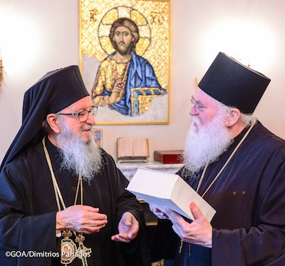 Archbishop Demetrios receives the visit of Abbott Ephraim of the Vatopedi Monastery