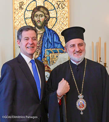 Archbishop Elpidophoros of America Receives First Official Visit, U.S. Ambassador-at-large for Religious Freedom Samuel Brownback