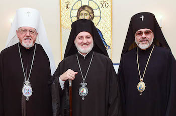 Metropolitan Antony and Archbishop Daniel of the Ukrainian Orthodox Church of the USA meet with Archbishop Elpidophoros