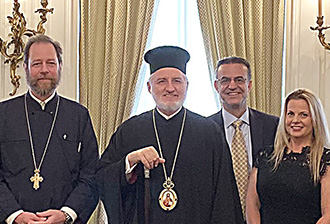 Archbishop Elpidophoros meets with the Priests and Parish Councils of two parishes in the New York area